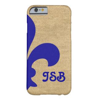 青いパリのMoods Fleur de Lys Monogram Barely There iPhone 6 ケース