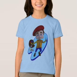 青いパレットの背景のTシャツのレオ Tシャツ