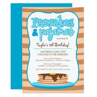 青いパンケーキおよびパジャマの誕生日の招待状 カード