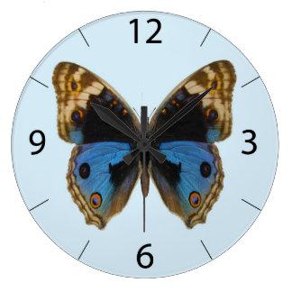 青いパンジーの蝶 ラージ壁時計