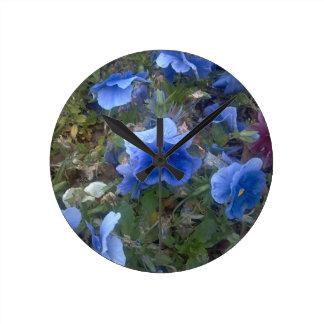 """""""青いパンジーパッチカスタム設計します柱時計""""を ラウンド壁時計"""