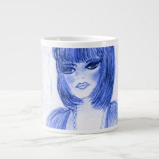 青いパーティガールのフラッパー ジャンボコーヒーマグカップ