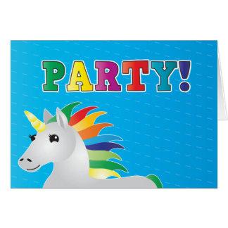 青いパーティーの虹のユニコーンのパーティーの招待 カード