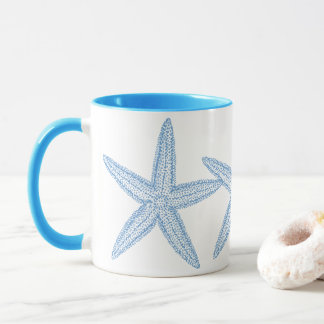 青いヒトデのデザイン マグカップ