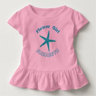 青いヒトデのピンクのビーチ結婚式のフラワー・ガール トドラーTシャツ
