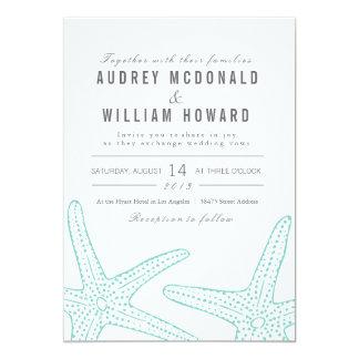 青いヒトデの結婚式の招待- Tiffanyの青 12.7 X 17.8 インビテーションカード