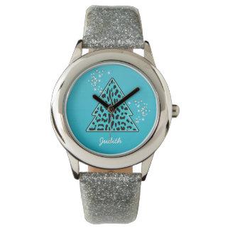 青いヒョウのチータのクリスマスツリー 腕時計