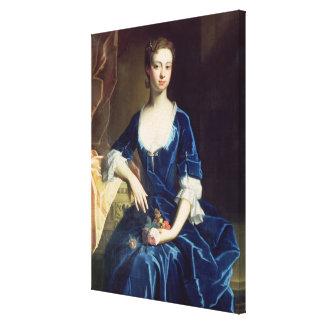 青いビロードの服(油の女性のポートレート キャンバスプリント
