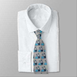 青いビーカー化学デザインのネクタイ カスタムタイ