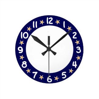 青いビーチの海のヒトデの柱時計 ラウンド壁時計