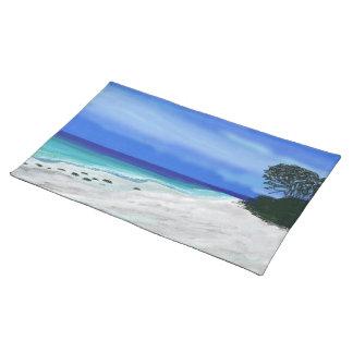 青いビーチの白い砂のカスタムのランチョンマット ランチョンマット
