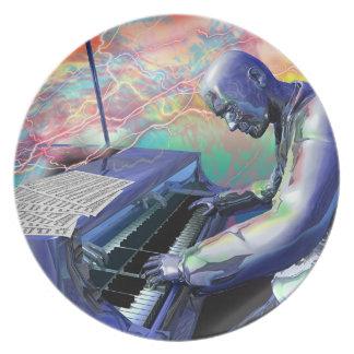 青いピアノプレート ディナー皿