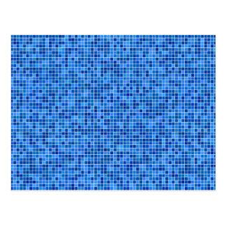青いピクセルモザイク ポストカード