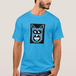 青いピクセル犬のワイシャツ Tシャツ