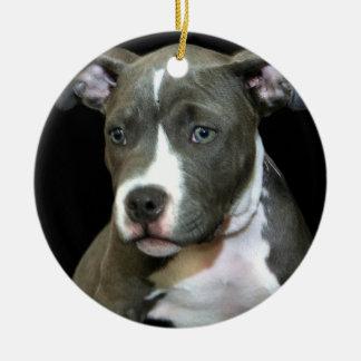 青いピットブルの子犬のオーナメント セラミックオーナメント