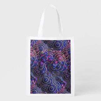 青いピンクの紫色の抽象芸術の泡細胞 エコバッグ
