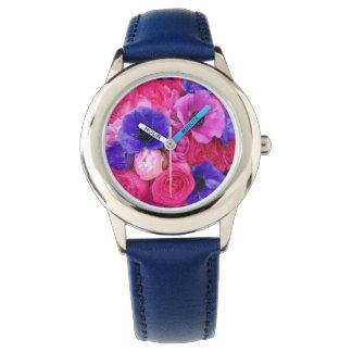 青いピンクの紫色の花柄-ばら色のシャクヤクのアネモネの腕時計 腕時計