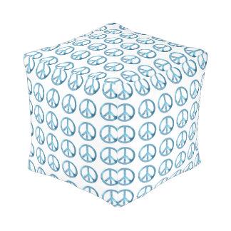 青いピースサインパターンキューブパフ プーフ