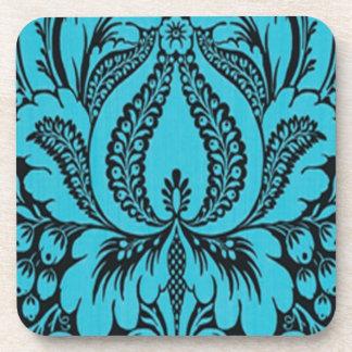 青いファンタジーの花柄のコースター コースター