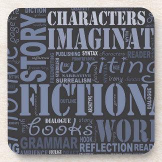 青いフィクションの作家の単語の雲のコースター コースター