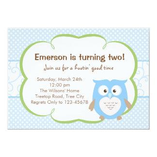 青いフクロウの招待状(誕生日/ベビーシャワー) 12.7 X 17.8 インビテーションカード