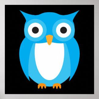 青いフクロウ-あなた自身の文字を加えて下さい ポスター