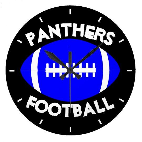 青いフットボールのコーチまたはプレーヤーのカスタムなチーム名前か文字 ラージ壁時計