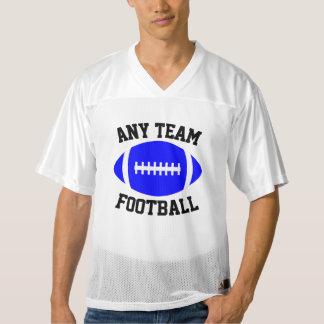 青いフットボールチーム名前、プレーヤーの名前及び数 メンズフットボールジャージー