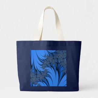 青いフラクタル ラージトートバッグ