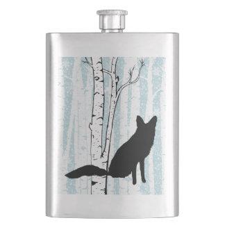 青いフラスコの樺の木の森林のキツネ フラスク