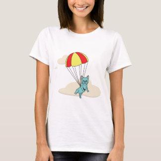 青いフレンチ・ブルドッグの傘のおもしろいのワイシャツ Tシャツ