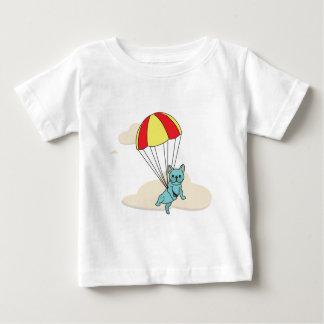 青いフレンチ・ブルドッグの傘のおもしろいの幼児のワイシャツ ベビーTシャツ
