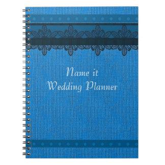 青いブロケードのウェディングプランナー ノートブック