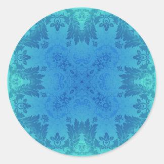 青いブロケード ラウンドシール
