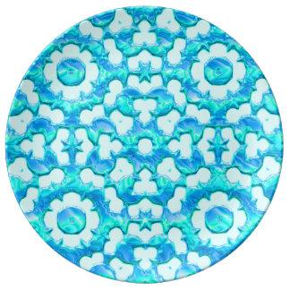 青いブロケード 磁器プレート