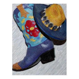 青いブーツの鉛筆 ポストカード