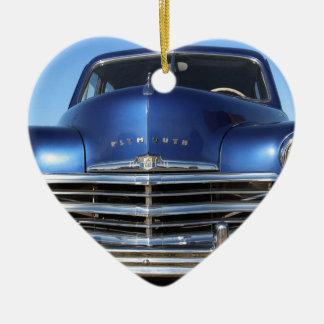 青いプリマスの古いファッション車 セラミックオーナメント