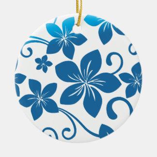 青いプルメリアの開花の陰 セラミックオーナメント