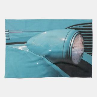 青いヘッドライト キッチンタオル
