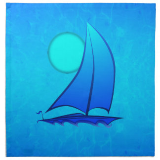 青いベクトルヨット ナプキンクロス