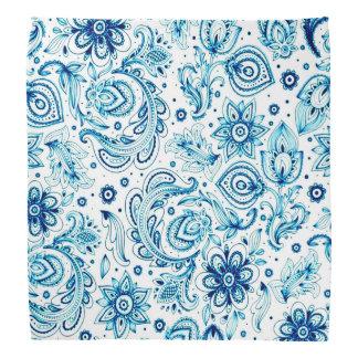青いペイズリーおよび花のバンダナ ハンカチーフ
