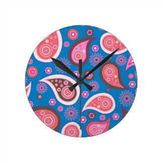 青いペイズリーのレトロの台所時計 ラウンド壁時計