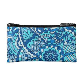 青いペイズリーの化粧品のバッグ コスメティックバッグ