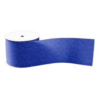 青いペイズリー グログランリボン