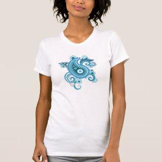 青いペイズリー Tシャツ