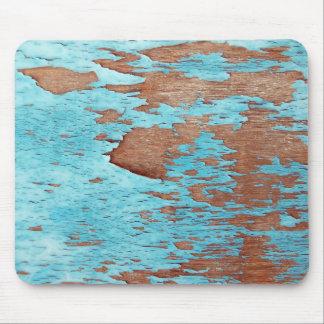 青いペンキの皮をむくことを用いる木 マウスパッド