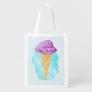 青いペンキの(ばちゃばちゃ)跳ねるが付いているアイスクリームコーン エコバッグ