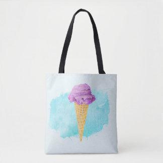 青いペンキの(ばちゃばちゃ)跳ねるが付いているアイスクリームコーン トートバッグ