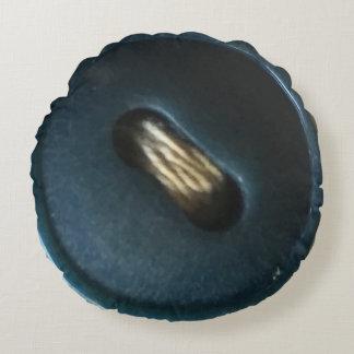 青いボタンとしてかわいい ラウンドクッション