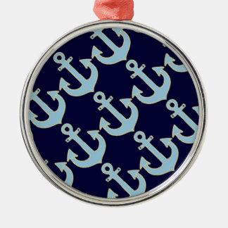 青いボートの航海のないかりパターン メタルオーナメント